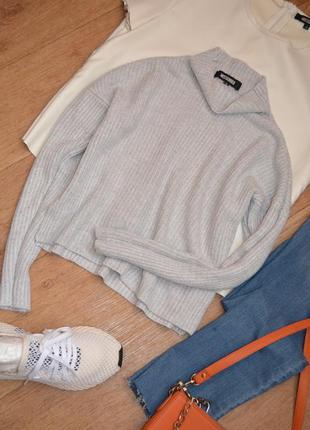 Прямой свитер вязанный под горло водолазка missguided