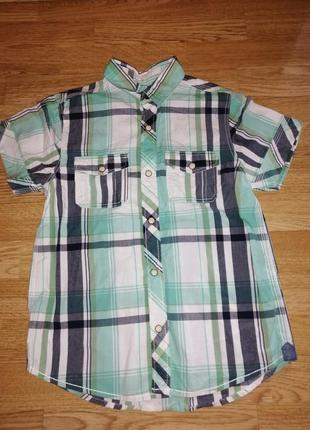 Рубашка на мальчика с коротким рукавом стильная нарядная в кватрат полоски