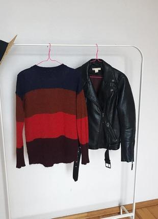 Красивый акриловый свитер джемпер new look в разноцветные полосы. р-р s