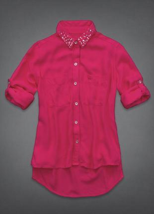 Рубашка яркая розовая  abercrombie&fitch цвета фуксия весення летняя вискозная оригинал