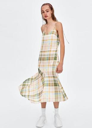 Zara платье миди сарафан легкое в клетку летнее прямое на бретельках 2020