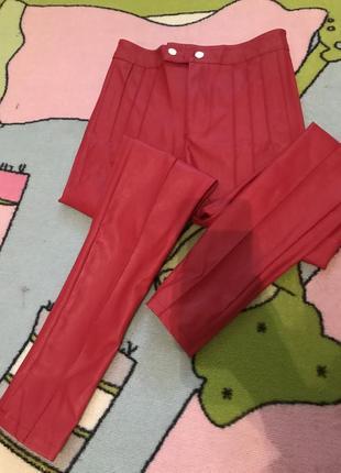 Красные леггинсы штаны эко кожа высокая талия