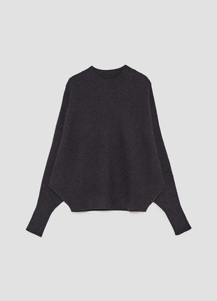 Cтильный укороченный оверсайз свитер ребристый летучая мышь zara