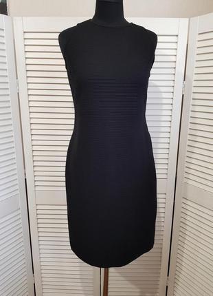 Стильное черное платье миди massimo dutti