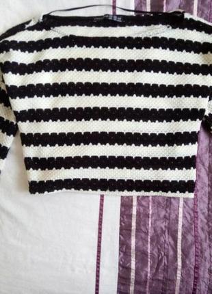 Свитер полосатый кроп топ кофта реглан джемпер