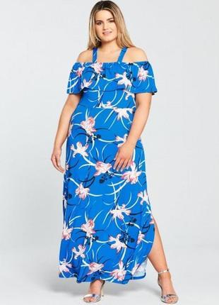Красивое брендовое стрейч макси платье цветочный принт 16/50-52 размера