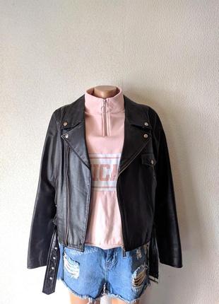 Кожаная куртка косуха с поясом кожанка 100% кожа hm divided