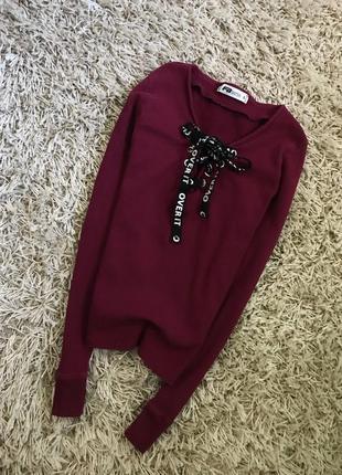 Стильная кофта свитерок гольф в рубчик на завязках размер с-м fb sister