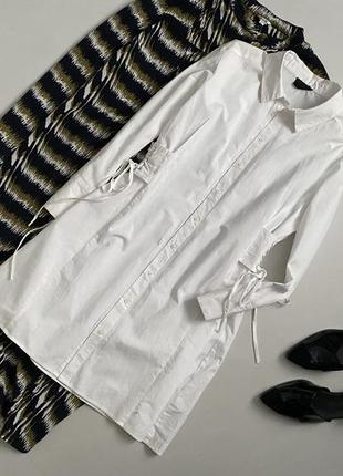 Крутое хлопковое платье рубашка со шнуровкой на талии topshop