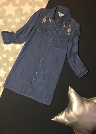 Стильное джинсовое платье-рубашка на весну 6-7 лет