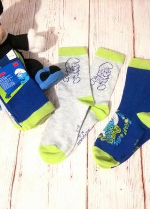 Супер качество ! комплект 2 шт фирменных , хлопковых носочков смурфики германия