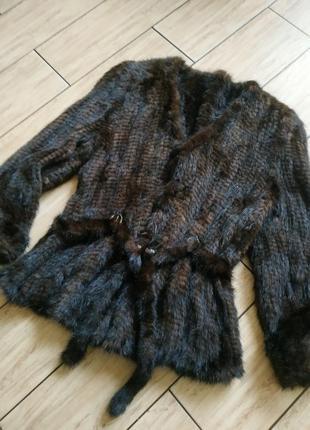 Вязаный норковый полушубок шубка жакет куртка норка