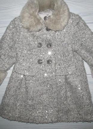 Очень красивое и стильное пальто с паетками  2-3 года