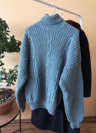 Шикарный свитер крупной вязки hand made pp m