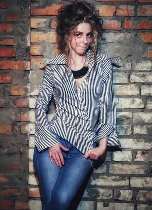 Рубашка в полоску стрейч блуза асимметричная unique boutique