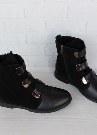 Демисезонные замшевые, кожаные ботильоны, ботинки 38, 39 размера на низком ходу