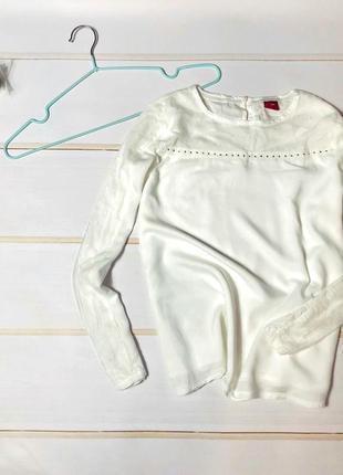 Белоснежная блуза oliver,с кружевными вставками