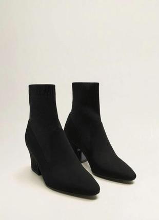 Ботильоны чулки, ботинки чулки чёрные на каблуке mango