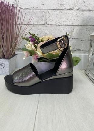Босоножки, туфли на танкетке бронза с открытым носком натуральная замша или кожа