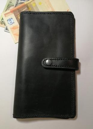 Мужской портмоне кошелек из натуральной кожи ручной работы кожаный тревел кейс
