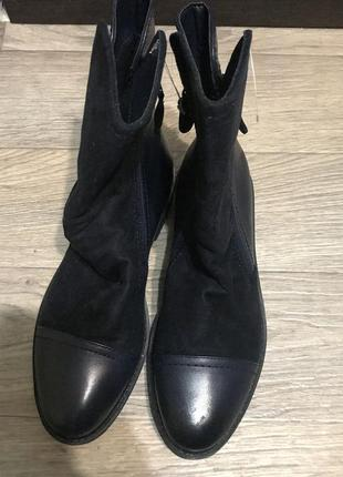 Сапожки(сапоги), ботинки женские темно синего цвета