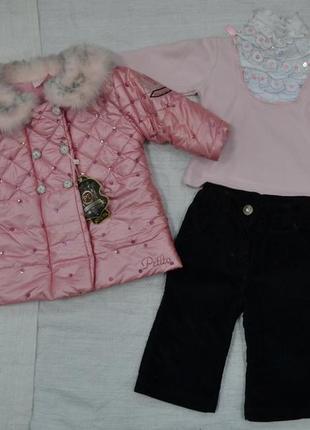 Демисезонный комплект rosie для девочек: курточка, реглан, брюки (petito club, турция)