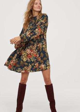 Цветочное платье свободного кроя 50-52-54