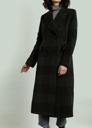 Тёплое пальто с натуральной шерсти бренд nm тренч кардиган на запах клетка