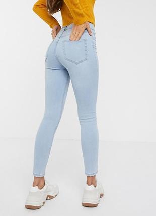 1+1=3 стильные светло-голубые узкие зауженные джинсы скинни h&m, размер 44 - 46