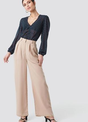 1+1=3 модные базовые нюдовые высокие брюки штаны свободного кроя na-kd, размер 44 - 46