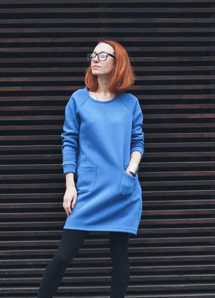Теплое, голубое платье. на флисе