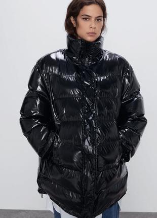 Оверсайз стьобана куртка / стеганое  пальто zara - s