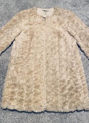 Пальто шуба искусственный мех эко мех зара zara верхняя одежда