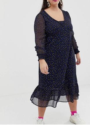 Шифоновое платье миди в принт с длинным рукавом и оборками asos, свободное батал