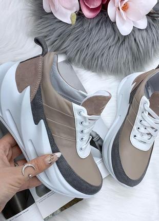 36-40. стильные кожаные кроссовки на массивной подошве. качество люкс!