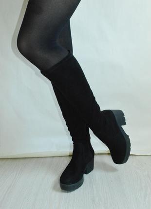 Шикарные чёрные сапоги чулки ботфорты на каблуке 39 размер