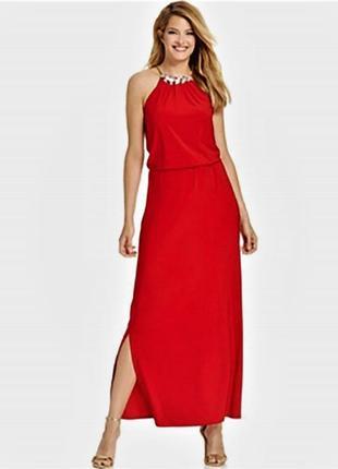 """Вечернее красное платье  вырез холтер с чокером из камней """"16"""" (usa) на 52-54 р"""