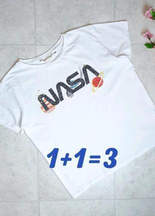 1+1=3 модная белая футболка оверсайз из хлопка h&m nasa, размер 48 - 50