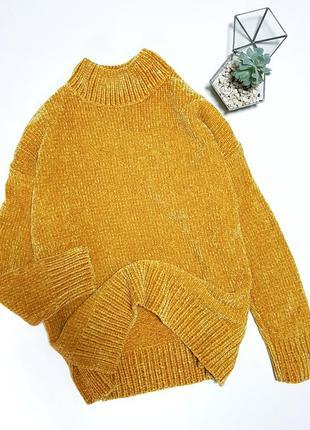 Желтый вязаный велюровый свитер