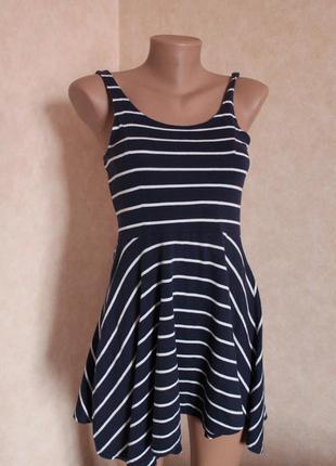 Чудесное платье,синее в белую полоску 38