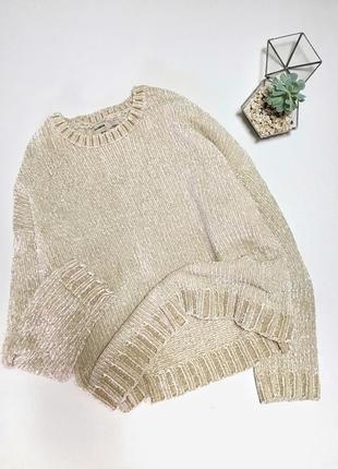 Молочный бежевый вязаный велюровый свитер