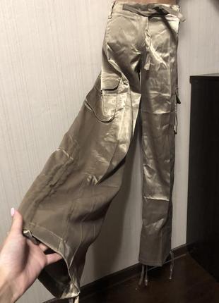 Золотые атласные широкие брюки с завязками