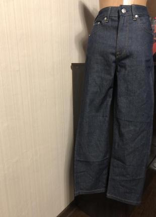 Шикарные синие прямые джинсы на высокой талии
