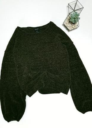 Зеленый велюровый укорочений свитер