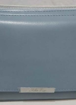 Женская кожаная сумка кросс-боди (голубая) 20-02-008