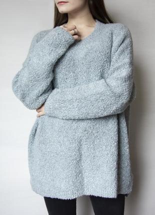 Нежно - голубой, кучерявый свитер свободного фасона marks & spencer