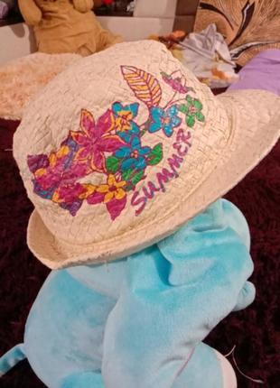Соломенная шляпа для деочки панама летний головной убор