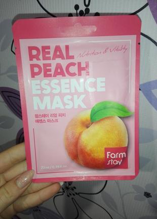 Тканевая маска для лица farmstay real peach essence mask