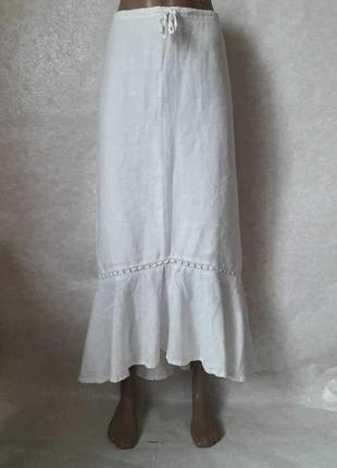 Новая фирменная h&m натуральная 100 % лён длинная юбка с утяжкой на поясе, размер ххл