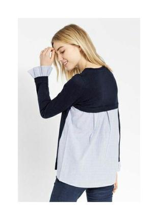 Классный джемпер с поплином 2в1 джемпер+рубашка/блуза в полоску oasis